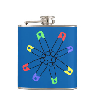 Blue Rainbow Safety Pin Solidarity Yellow Green Hip Flask