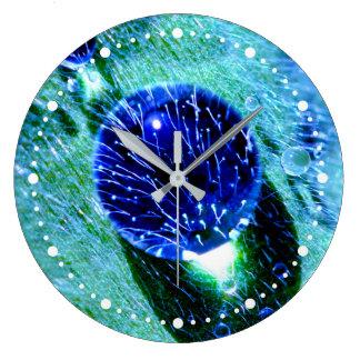 Blue Raindrops Water Pearls Macro Funny dial-plate Wall Clocks