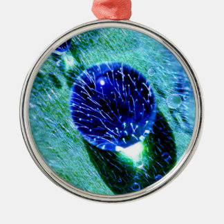 Blue Raindrops Water Pearls Macro Photo - Decor Christmas Ornament