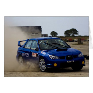 Blue rally car greeting card