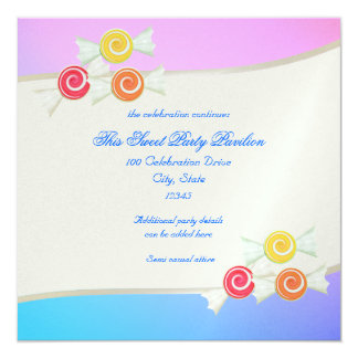 Blue Raspberry Candy Bat Mitzvah 13 Cm X 13 Cm Square Invitation Card