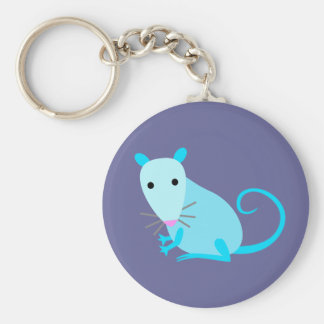 Blue Rat Keyring Basic Round Button Key Ring