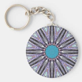 Blue Rays Graphic Star Basic Round Button Keychain