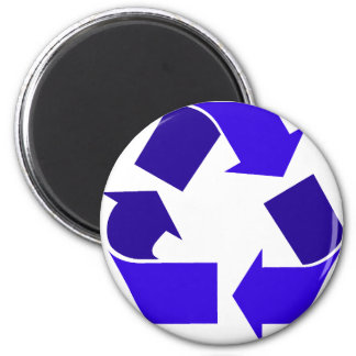blue recycle 6 cm round magnet