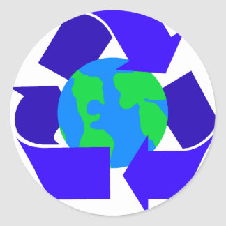 blue recycle classic round sticker