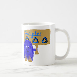 Blue Recycle sign Coffee Mugs
