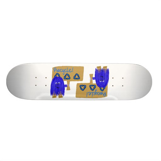 Blue Recycle sign Skateboard
