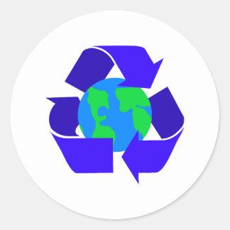 blue recycle round sticker