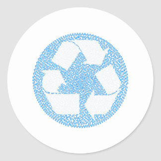 Blue Recycle Round Stickers