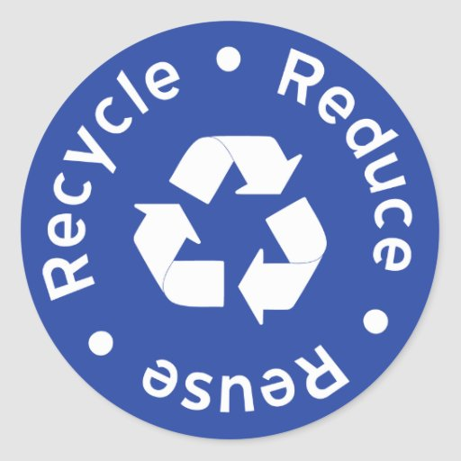 Blue Recycling Symbol Sticker