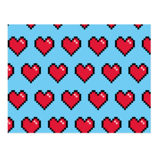 Blue Red 8-Bit Pixel Heart Postcard
