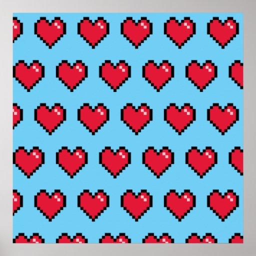 Blue Red 8-Bit Pixel Heart Posters