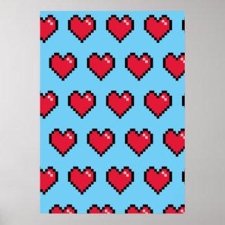 Blue Red 8-Bit Pixel Heart Poster