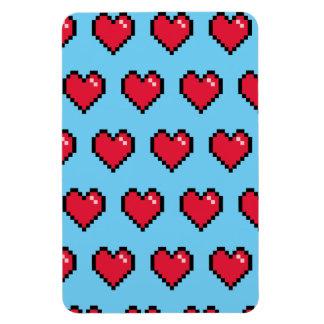 Blue Red 8-Bit Pixel Heart Flexible Magnets