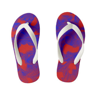Blue/Red abstract pattern kid's flip flops