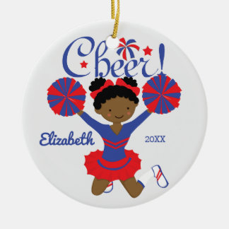 Blue & Red African American Cheerleader Ornament