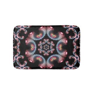 Blue red and black kaleidoscope bath mat