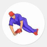 blue red baseball round sticker