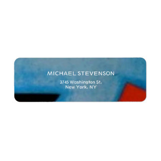 Blue Red Black Abstract Unique Return Address Label
