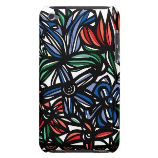 Blue Red Black Flowers Floral Design iPod Case-Mate Cases
