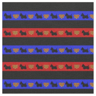 Blue, red, black stripe, Scottish Terrier heart Fabric