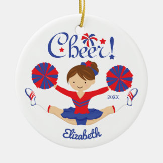 Blue Red Cheer Brunette Cheerleader Personalized Christmas Ornament