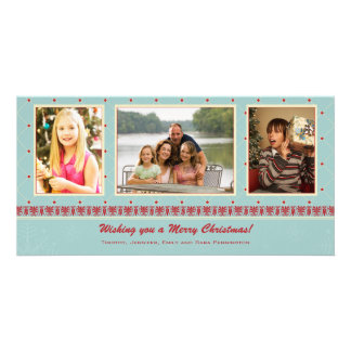 Blue red classic christmas holiday 3 photo card