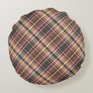 Blue red cream plaid round cushion