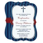 Blue & Red Cross Holy Communion Or Confirmation 13 Cm X 18 Cm Invitation Card