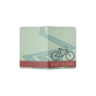 BLUE RED FELT PATCHWORK BICYCLE BIKE MONOGRAM PASSPORT HOLDER