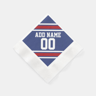 Blue Red Football Jersey Custom Name Number Disposable Napkins
