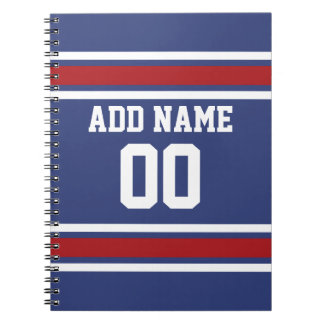 Blue Red Football Jersey Custom Name Number Notebook