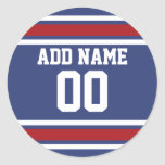Blue Red Football Jersey Custom Name Number Round Sticker
