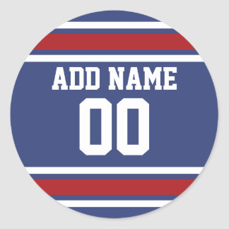 Blue Red Football Jersey Custom Name Number Stickers