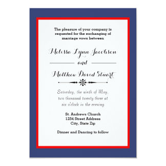 Blue & Red Framed - Wedding Invitation