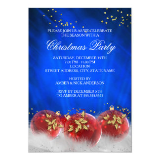Blue Red Gold Baubles White Christmas Party 13 Cm X 18 Cm Invitation Card