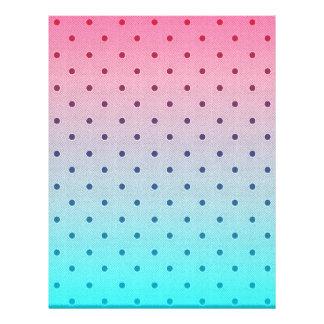 Blue Red Gradiant. Black Polka Dots Pattern Full Color Flyer