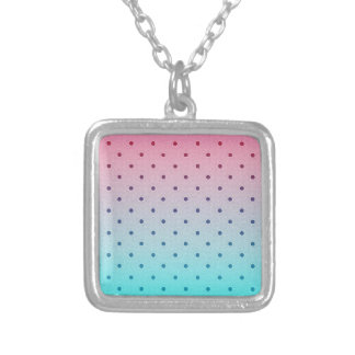 Blue Red Gradiant Black Polka Dots Pattern Personalized Necklace