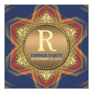 Blue Red Hexagon Star Gold Dinner Party Invitation