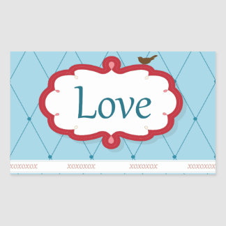 Blue/Red Love Bird Rectangular Sticker