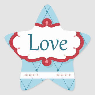 Blue/Red Love Bird Star Sticker