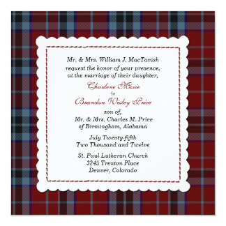 Blue & Red MacTavish Tartan Plaid Custom Wedding Card
