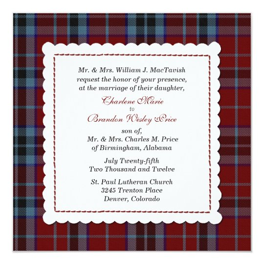 Blue & Red MacTavish Tartan Plaid Custom Wedding