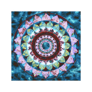 Blue red mandala canvas print