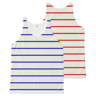 Blue Red Mix Stripes Top
