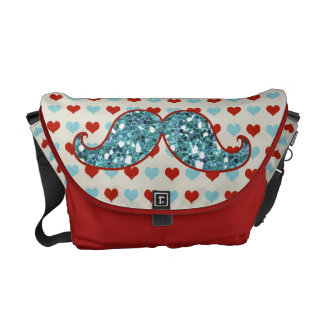 BLUE RED MUSTACHE AND HEARTS GLITTER COMMUTER BAG