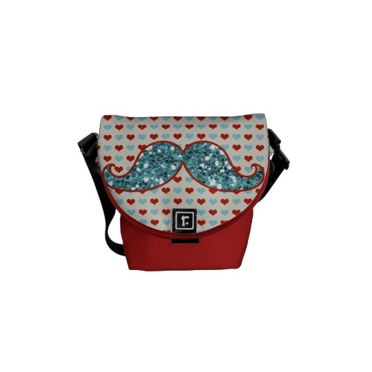 BLUE RED MUSTACHE AND HEARTS GLITTER MESSENGER BAG