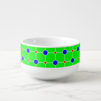 Blue red on green lattice soup bowl