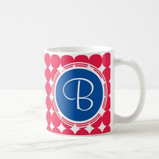 Blue & Red Polka Dot Monogram Coffee Mug