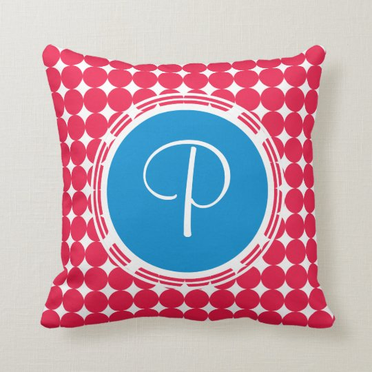 Blue & Red Polka Dot Monogram Cushion